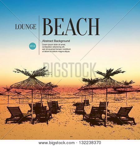Abstract sketch stylized background. Beach, sun loungers and umbrellas. Blurred sunrise