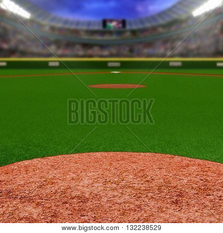Baseball stadium full of fans in the stands with copy space. Deliberate focus on foreground infield dirt clay with shallow depth of field on background. Floodlights flare for effect and copy space.