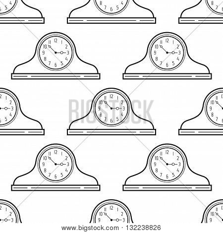Black and white mantel clock. Seamless pattern. Decorative background. Vector