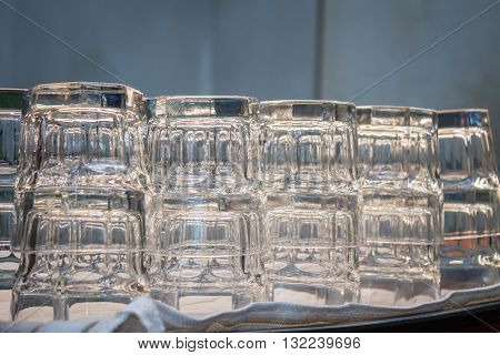 Empty glasses in coffee shop, stock photo
