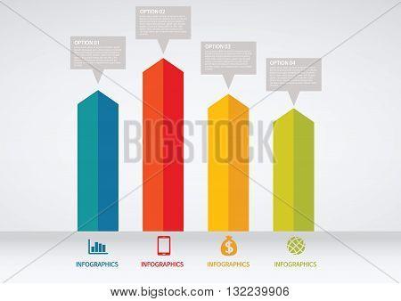 Vector Illustration:   info graphics - colorful graph, square pillar