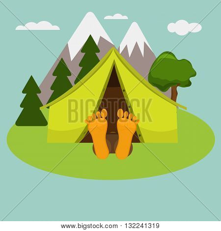 Camping morning. Man is sleeping in a tent. Summer landscape nature with mountain and trees. Legs are out of tent. Weekend in a tent.