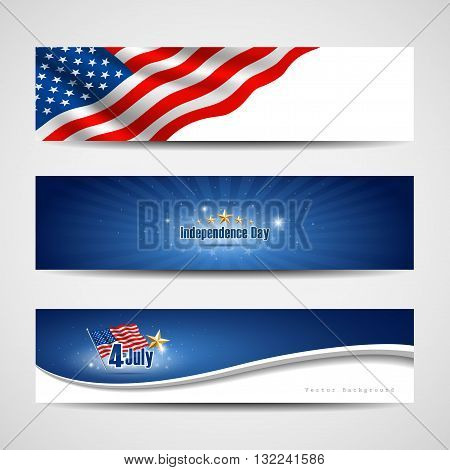 Banners collection with independence day theme background