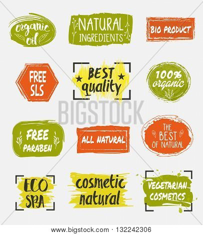 Natural organic cosmetic product labels set. Eco spa icon. Vegetarian cosmetics tag. Free sls. Organic icon. Eco sign. Organic labels. Cosmetic eco logo.  Eco spa icon. 100% organic icon. Natural cosmetic icon. Cosmetic label.