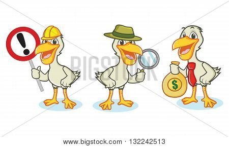 Pelican Mascot Vector with money sign magnifying glass