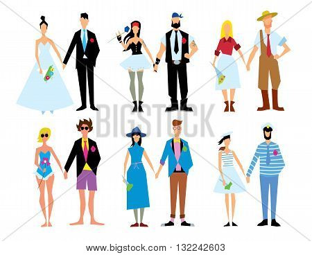 Wedding couple isolated vector illustration. Bride and groom. Woman and man love. Marriage concept. Romance people. Wife and husband.