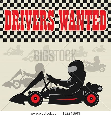 Karting Go Cart race poster, vector illustration
