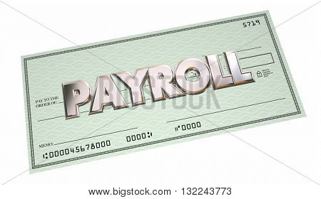 Payroll Accounting Check Payment Words 3d Illustration