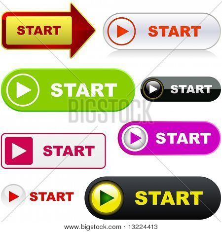 Start button. Vector set for web.