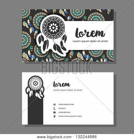 Business cards with dreamcatcher pattern. Vector illustration. Colorful dreamcatchers on dark background. Business cards with freehand dreamcatcher logo