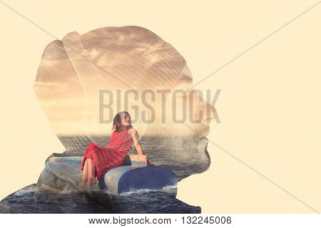 Double exposure with a man listening music on headphones and a little girl afloat