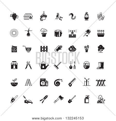 Gardening tools and flowers vector icons. Wheelbarrow and trowel tools for gardening, icon set of flower and agriculture gardening illustration