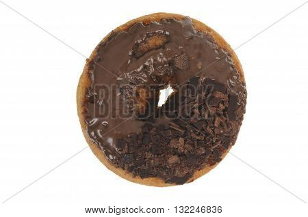 A Chocolate Doughnut isolated on a white background