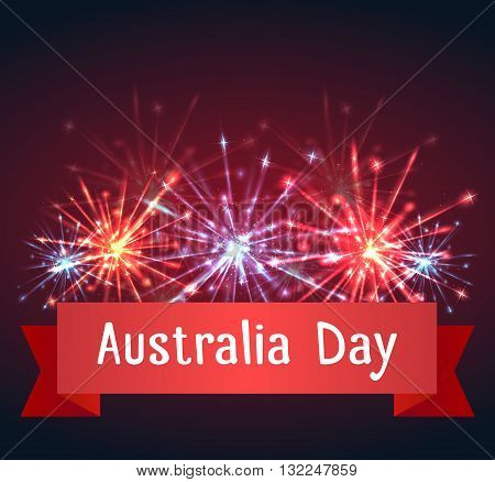 Vector card with fireworks and congratulations on Australia Day