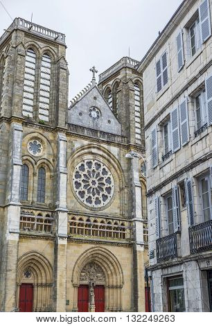 Principal facade of eglise Saint-Andre church in Bayonne. The neo-gothic church St Andrew is the parish church of Small-Bayonne neighborhood. Aquitaine. France.