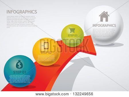 Vector Illustration:   info-graphic - sphere style - arrow