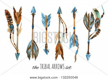 Watercolor tribal arrows set. Hand drawn vintage illustration with arrows and feathers.