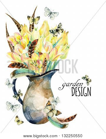 Watercolor floral garden card with tulips feathers butterfly and rustic jug. Spring flowers in vintage jar on white background. Floral illustration for greetings invitations wedding card design