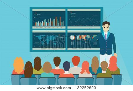 Businessman in suit making presentation explaining charts on board. Business seminar Business meeting teamwork planning conference brainstorming in flat style conceptual vector illustration.