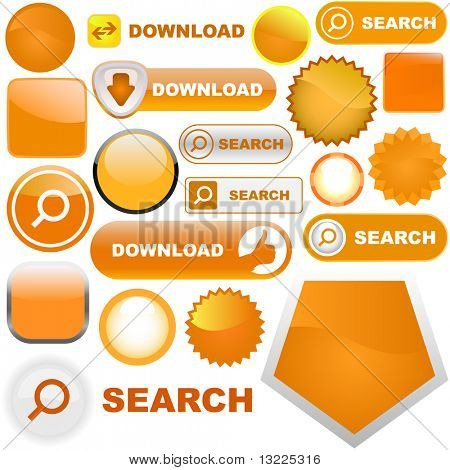 Vector great collection of orange elements for web