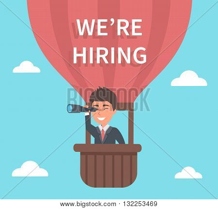 Businessman HR searching for new recruits through telescope. Vector concept illustration.