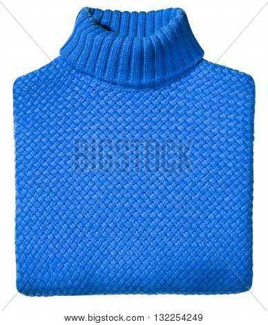 Neatly Folded Colorful Blue Knitted Sweater