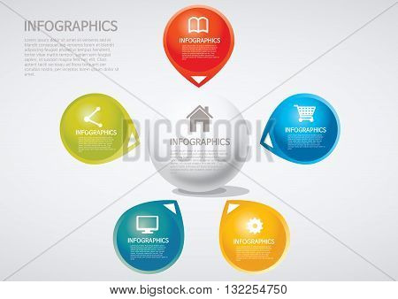 Vector Illustration:   info graphics - five, section, Venn diagram