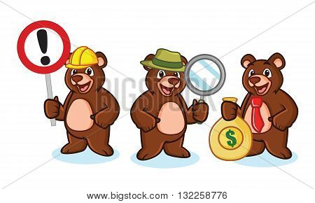 Bear Mascot Vector with money sign and magnifying glass