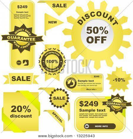 Gold set of design elements for sale.
