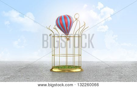 Freedom exemption from duties balloon that breaks the golden cage released to freedom.3D illustration