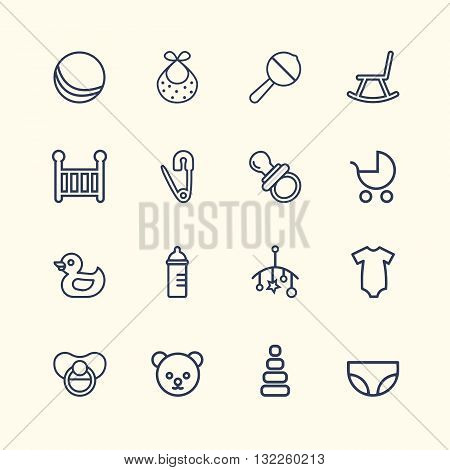 Baby Icon Set Design. Easy to manipulate, re-size or colorize.