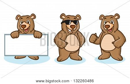 Grizzly Bear Mascot happy pose and bring board
