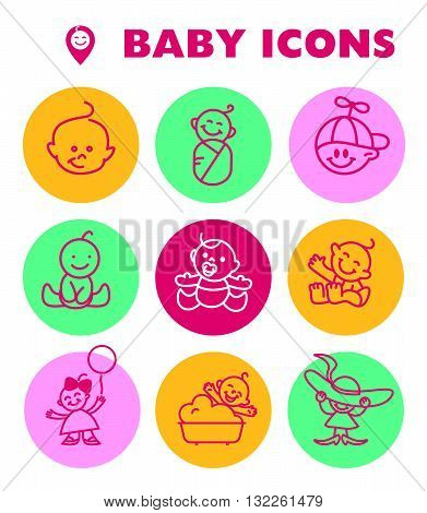 Vector simple flat kid simple icon isolated. Baby, child company goods, toys shop, candy bar, store logo, insignia. Human icon. Children icon. Baby head in hat, smiling happy kid. Little boy, girl.