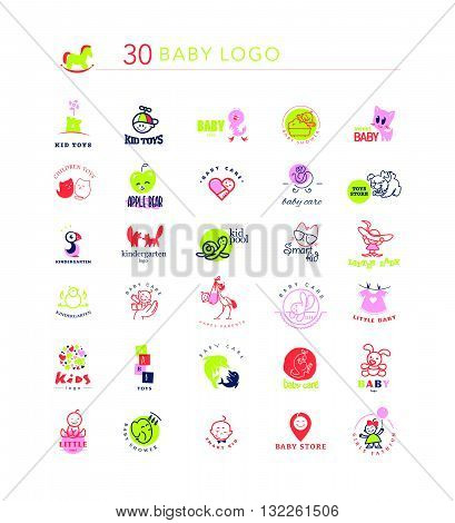 Vector simple flat kid logo set. Baby, child goods, toys store, candy bar, sweet shop logo isolated on white backdrop. Elephant, dolphin, cat, bird, dog, stork, chicken, bunny, castle, boy, girl icon.