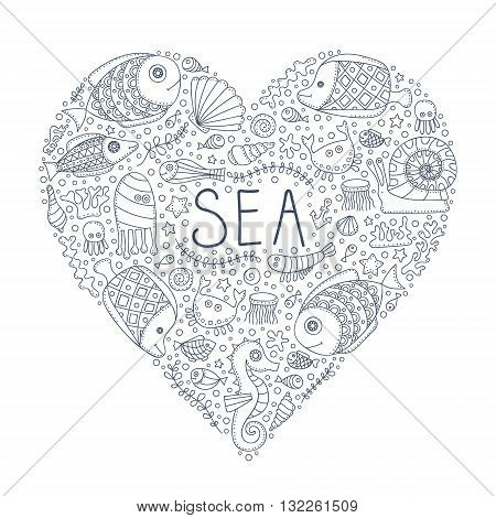 Sea heart. Vector hand drawn doodle sea elements - fish sea star sea horse crab anchor bubbles. Pattern for coloring book. Outline. Love sea.
