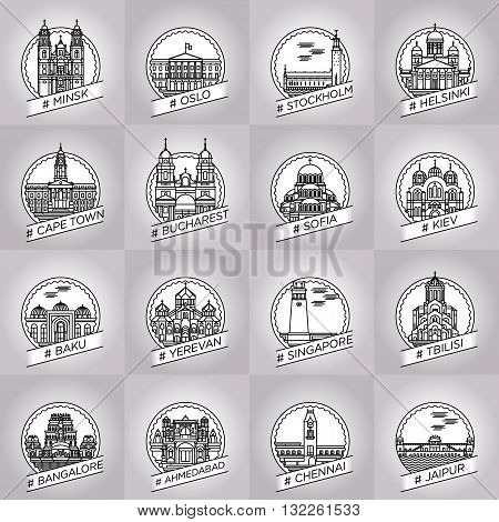 vector line minsk oslo stockholm helsinki cape town bucharest sofia kiev baku yerevan singapore tbilisi bangalore ahmedabad chennai jaipur city badge collection set