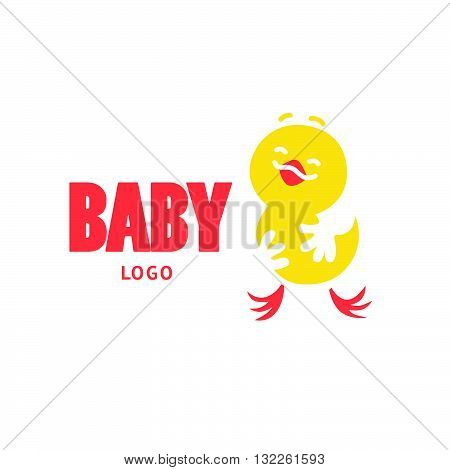 Vector simple flat kid logo. Baby, child company goods, toys shop, store, sweet shop, candy bar logo. Happy chicken with big head icon. Hen icon, bird character isolated on white background.