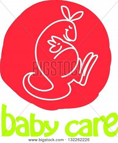 Vector simple flat kid logo. Baby, child company goods, toys shop, store. Parent and child icon. Kangaroo with baby icon, animal character isolated on white background. White stroke, animal silhouette.