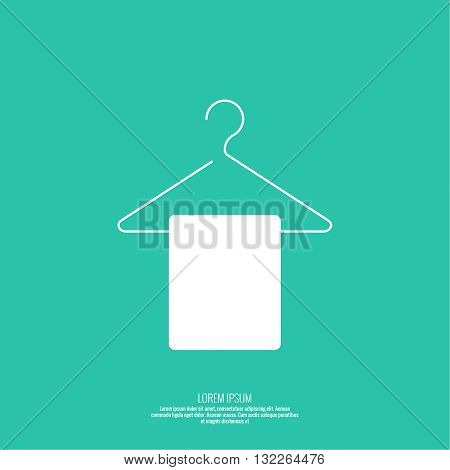 Vector icon hanger. Linear icon. Thin line. Clothes hanger for home and shop, the display cases with hanging towel. Clean linen