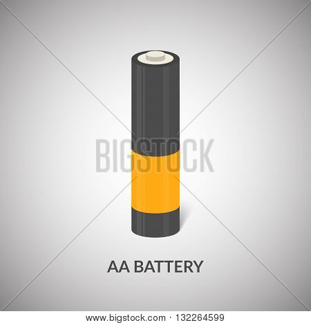 AA Battery vector icon. Isolated cylinder AA battery in cartoon style. Vector