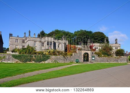 TISSINGTON, UK - SEPTEMBER 7, 2014 - Front view of Tissington Hall Tissington Derbyshire England UK Western Europe, September 7, 2014.