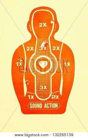 Vector Target (print and shot), background, gun