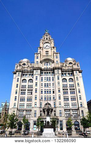 LIVERPOOL, UK - JUNE 11, 2015 - The Royal Liver Building at Pier Head Liverpool Merseyside England UK Western Europe, June 11, 2015.