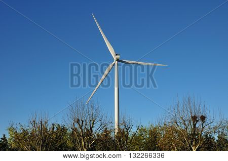 Bourgogne France - april 13 2016 : wind turbine near Auxerre
