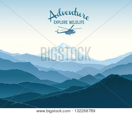 Mountain landscape and design element with silhouette helicopter. Taiga landscape. Illustration on the expedition.