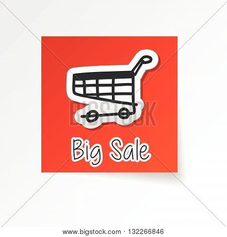 big sale with shopping cart symbol, red flat design label with sticker, business commerce concept icon, vector