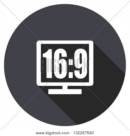 16 9 display vector icon, round flat design button, web and mobile app illustration