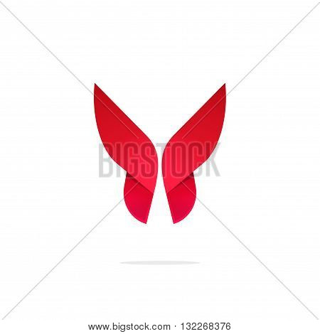 Butterfly colorful logo template with shadow on wings. Abstract red butterfly gradient shape. Beautiful creative vector butterfly logotype, icon design for business card, brand or identity
