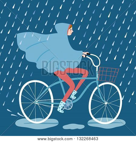 Girl in raincoat riding on a bicycle under the rain. Cycling in rainy weather. Hand drawn cartoon illustration.