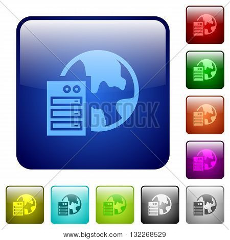 Set of color web hosting glass web buttons.